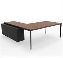 X9 Skrivebord  X9 med sidebord i grå lakk