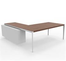 X9 Skrivebord X9 med sidebord i hvit lakk